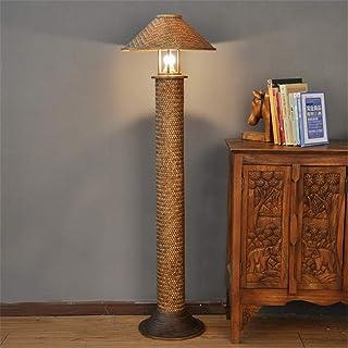 BXZ Lampadaire Asie du sud-est rétro bambou fait à la main chapeau de paille Design E27 lampe sur pied à tête unique 1.33M...