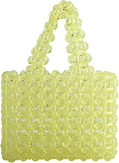 Women Beaded Bag Transparent Acrylic Tote Bags Handmade Weave Crystal Pearl Bags for wedding party