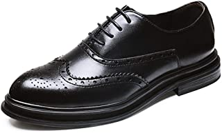 Bin Zhang Brogue Business Oxfords for Men Large Size Shoes Microfiber Leather Lace up Pointed Toe Wingtip Burnished Style Waxed Laces Thick-Bottom (Color : Black, Size : 8.5 UK)