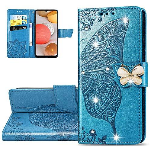 Carcasa Xiaomi Mi 10T,Funda Xiaomi Mi 10T Diamante Flor de mariposa en relieve Carcasa de Tipo Libro con Ranuras para Tarjetas de Soporte y Solapa Case,SD Diamond Butterfly Blue