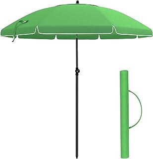 SONGMICS Parasol de 2m de Diámetro de Arco, Sombrilla, Protección Solar, Capota Octogonal de Poliéster, Mecanismo de Inclinación, para Playa, Jardín, Piscina, Verde GPU65GN (Base No Incluida)