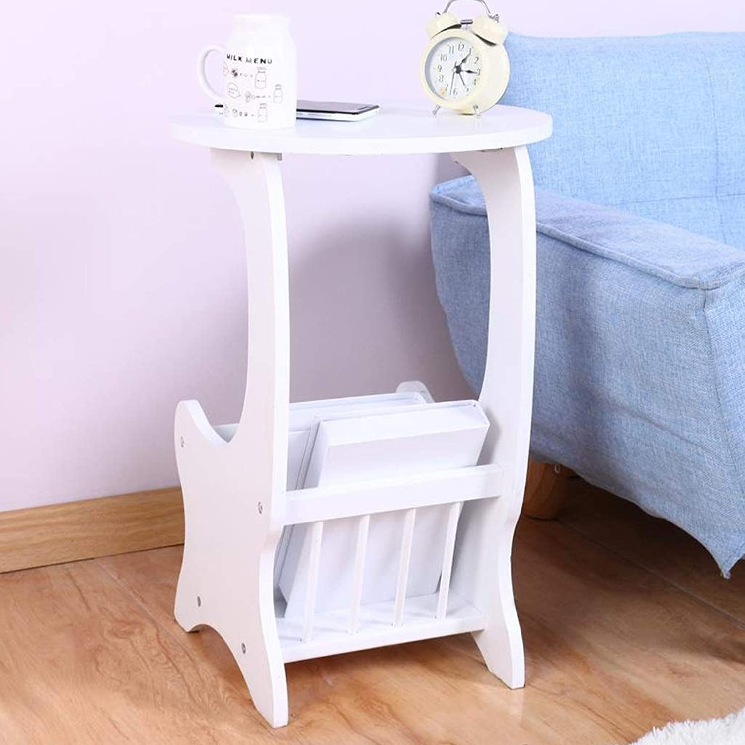 End Table, Round End Table Side Table Coffee Table, Easy to Assemble Sofa Side with Storage Shelf White