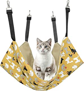 Alien Pet 猫 ハンモック ケージ 大きい 耐荷重 遊び場 両面使用 10KG 春 夏用(イエロー猫)