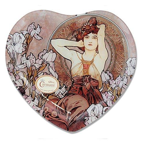 CARMANI - Coeur décoratif en Forme de Plaque imprimé avec la Peinture Mucha, Améthyste 25x23cm