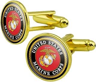 Globe /& Anchor Officer Cufflinks with Presentation Box Cuff-Daddy Gold USMC Marine Corp Eagle