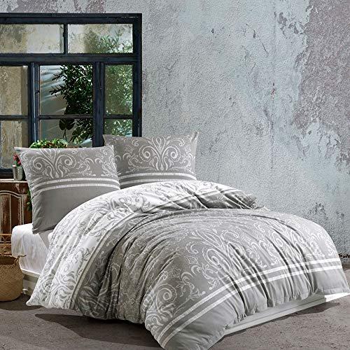 Juego de ropa de cama Louisa de algodón 135 x 200 cm + funda de almohada 80 x 80 cm – Juego de funda nórdica suave con cremallera, 2 piezas