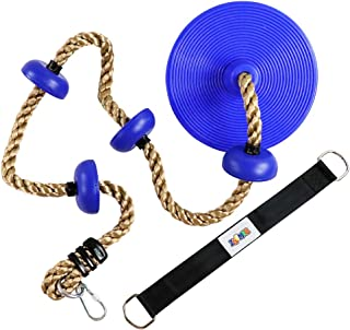 ZNCMRR Climbing Rope with Platforms and Dis Swing Seat Set Accessory Including Bonus Hanging Strap & Carabiner Blue