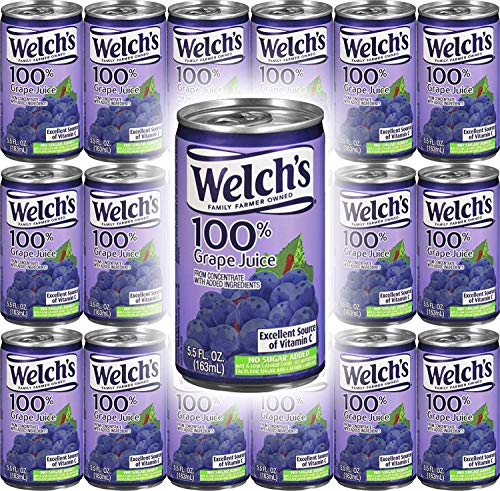 Welch's Grape Juice 100% Juice, 5.5oz (Pack of 18, Total of 99 Oz)