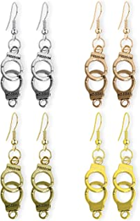 WUWEIJIAJIA 4 Pairs Personalized Punk Vintage Silver Cute Handcuffs Dangle Drop Earrings Retro Gold Handmade Handcuffs Ear...