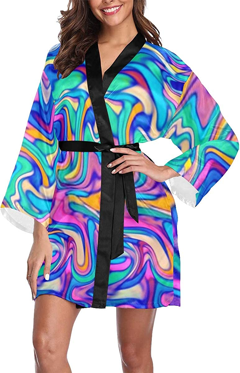 JIUCHUAN Womens Robe Bright Genuine Neon Color Digital Our shop most popular Marbling Palette