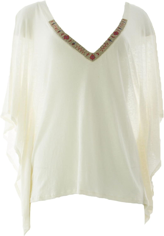 VELVET by Graham & Spencer Womens Knit Beaded VNeck Poncho Top Small White