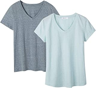 Dolcevida Women's 2 Pack Plus Size Cotton T Shirts Short Sleeve V-Neck Tees Stretch Blouse Tops