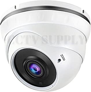 Real HD 1080P Dome Outdoor Security Camera (Quadbrid 4-in1 HD-CVI/TVI/AHD/Analog), 2MP 1920x1080, 100ft Night Vision, Metal Housing, 2.8-12mm Varifocal Wide Viewing Angle, White