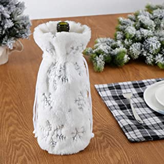 Faux Fur Wine Bottle Bag,White Christmas Wine Bottle Cover for Winter Holiday Party Decorations,Party Favor (white 1)