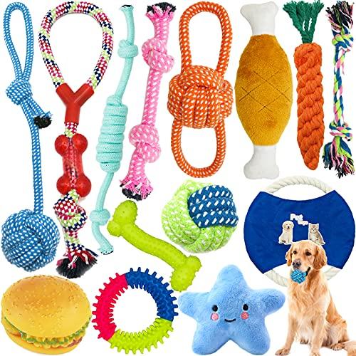Amzeeniu Juguetes para Perros,14piezas Juguete para Morder para Perro,Durable Masticable Cuerda,Cuerda Juguete Interactivo de algodón con Nudo para Masticar para Mantener a Perro Sano