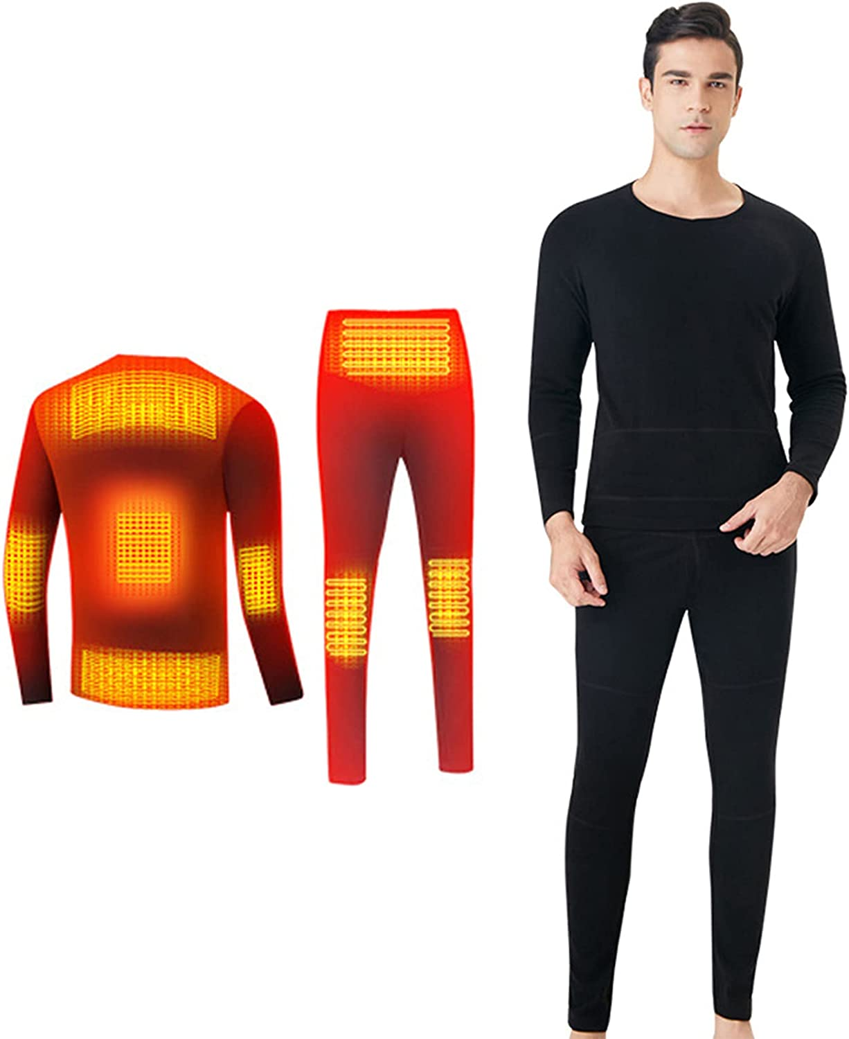 Winter Heating Underwear Set Thermal Tops Pants 8-Zones Intelligent Temperature Control Motorcycle Clothes Trousers