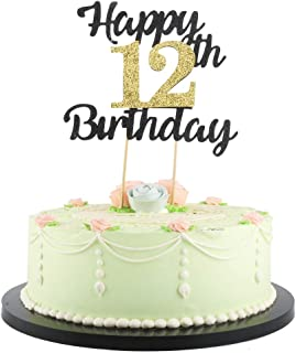 LVEUD happy birthday cake topper Black Font Golden Numbers 12th birthday happy Cake Topper -Birthday Party Decorations (12th)