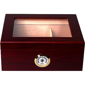 Mantello Royal Glass-Top Cigar Humidor Humidifier Box with Hygrometer - Holds (25-50 Cigars)
