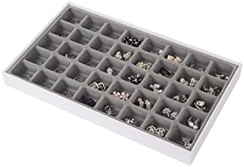 JackCubeDesign Stackable Leather Jewelry Tray Earring Necklace Bracelet Ring Organizer Display Storage Box(Set of 4, ...