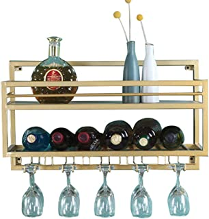 Wall Mounted Wine Racks with Glass Holder | Metal Hanging Wine Holder and Wine Bottle Holder | Suspended Wine Glass Holder...