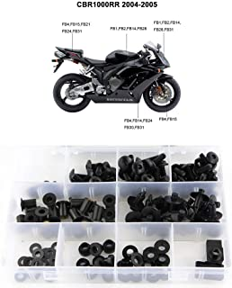 Xitomer Complete Fairing Bolt Kits, for Honda CBR1000RR 2004 2005, Mounting Kits Windscreen Bolts,Nuts/Fastenings/Clips/Grommets (Matte Black)