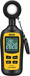 URCERI Light Meter Digital Illuminance Meter Handheld Ambient Temperature Measurer with Range up to 200,000 Lux Luxmeter with 4 Digit Color LCD Screen