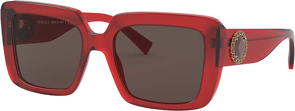 versace, occhiali per donna, montatura color rosso trasparente, lenti marrone scuro 0ve4384b