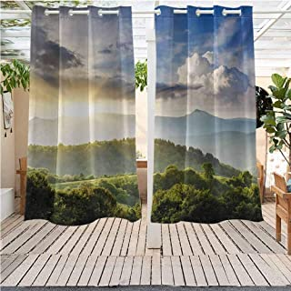 DONEECKL Nature Pure Outdoor Curtains Rising Sun Clouds Over Forest Hill Woodland Idyllic Countryside View Pergola W72 x L84 inch Olive Green Blue Yellow