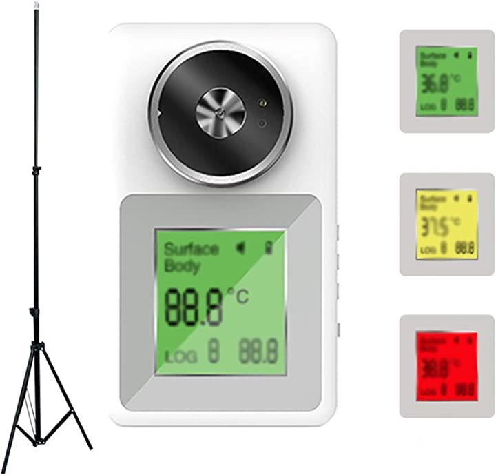 Termoscanner con treppiede e allarme intelligente ad alta temperatura, display a 3 colori e multilingue 544-736-831