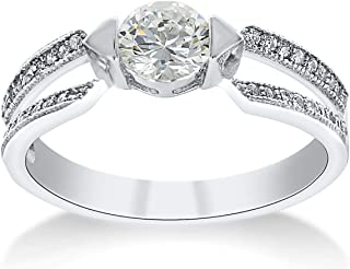 Montage Jewelry Women's Classic Design Solitaire Cubic Zirconia & Sterling Silver Engagement Ring