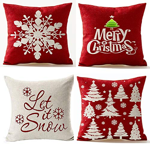 Andreannie Set of 4,Merry Let It Snow Snowflake Red Cotton Linen Decorative Throw Pillow Cover Cushion Case for Home Sofa Square 18 Inches¡