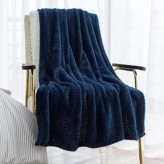 LEWONDER Throw Blanket, Flannel Plush Soft Fleece Blanket, Light Weight Warm,Navy Blue 60 x 80 Inches
