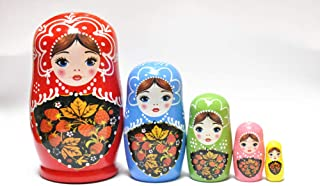 FinerMe Fine Work Russian Nesting Dolls Matryoshka Wood Stacking Nested Set 5 Pieces Handmade Toys for Children Kids Christmas Birthday Home Decoration (Color D``)