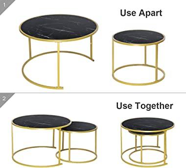 Nesting Coffee Tables Black Living Room Table Sets, Marble Look Sofa Side Nest of Tables Round End Tables with Gold Metal Frame Home Decor Sets(Black, Set of 2)