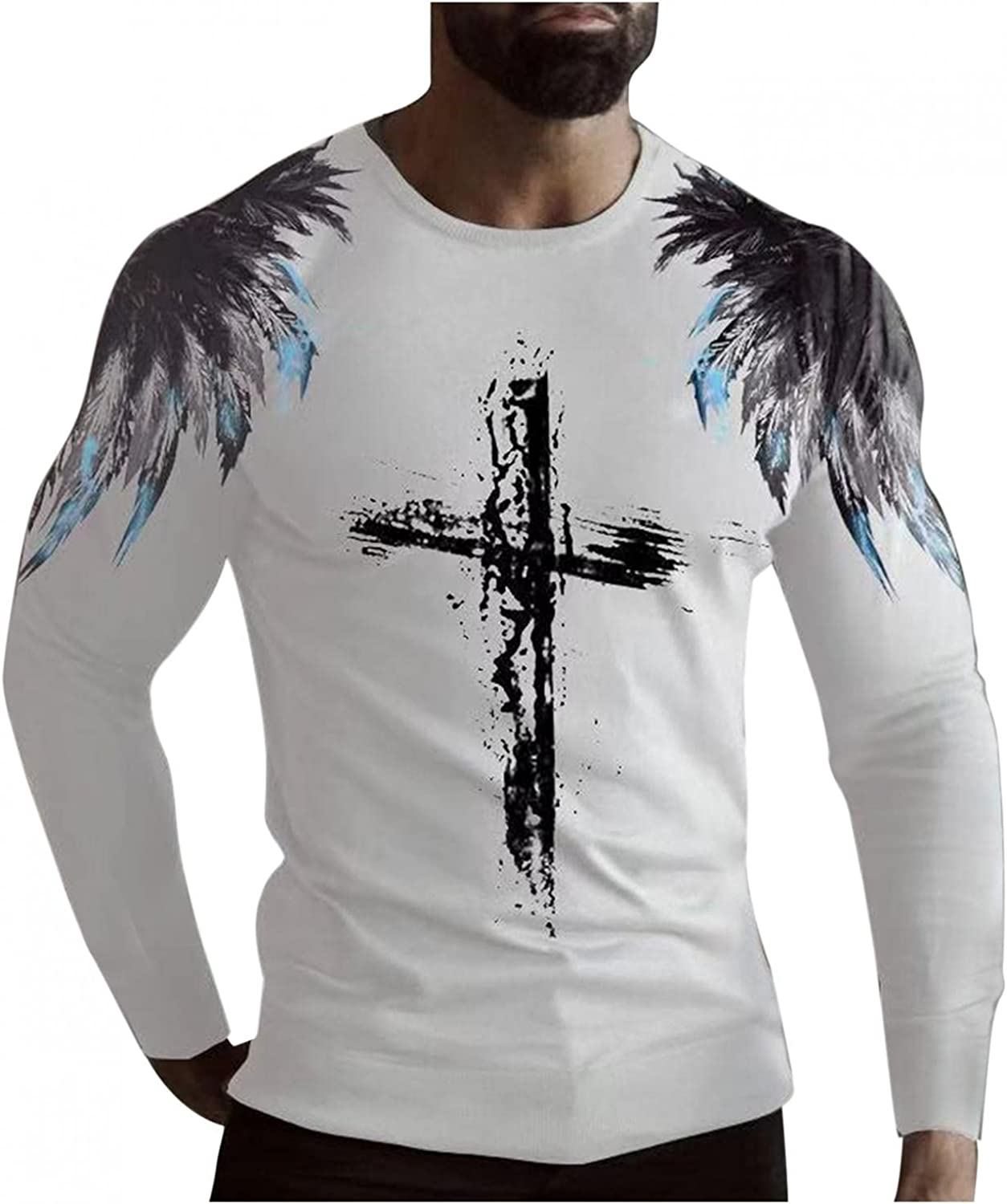 Mens Shirts Men's Casual Cross Feather Print Long Sleeve Tee Shirt for Men Top Round Neck T-Shirt Blouse Polo Shirts for Men