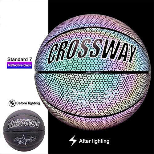 Best Review Of Rosymity Light Up Basketball Glowing Basketballs Reflective Black Professional Lumino...