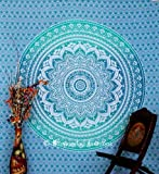 BhagyodayFashions Indischer Mandala-Wandbehang Gobelin Tagesdecke, Überwurf, Baumwolle, 218 x 238 cm