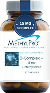 MethylPro B-Complex + 15mg L-Methylfolate (30 Capsules) - Professional Strength B Vitamins for Energy, Mood + Immune Suppo...