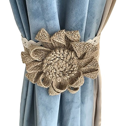 Ya Jin 2 Pack Handmade Natural Jute Curtain Tiebacks Velcro Straps Rural Linen Drapery Holdbacks 16 inch Length, Peony