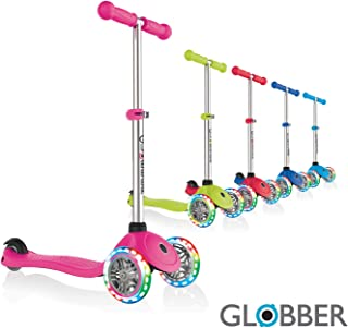 Globber V2 3-Wheel 3 Adjustable Height Scooter W/Flashing Lights Zero Assembly Patented Steering Lock Great for Kids & Toddlers Girls or Boys Reinforced Body Supports Up to 110lbs
