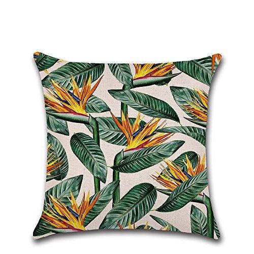 Excelsio Vert feuille Fleur Housses de coussin Housse pour canapé lit Salon Chambre à coucher Home Decor, personnalisé carré en coton et lin Taie d'oreiller Housses de coussin 45 x 45 cm/45,7 x 45,7 cm