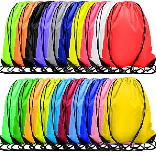 60 Pieces Drawstring Backpacks Bulk Cinch Bags Multi-Color Sports Gym Drawstring Bags for Traveling Gym Yoga Storage Supplies, 20 Colors
