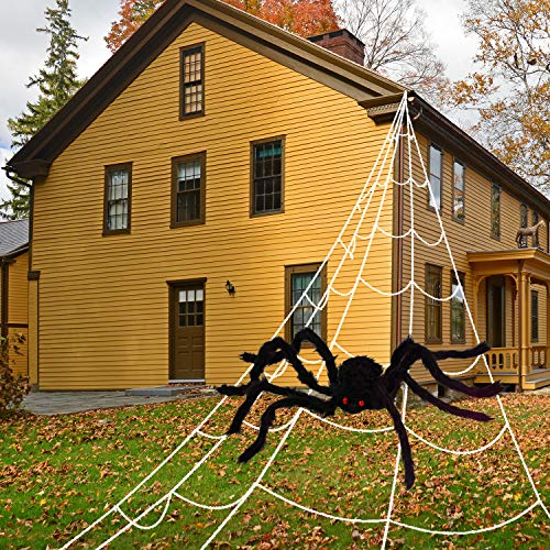 Whaline Halloween Giant Spider Web With Giant 35in Black Spider for Halloween Outdoor Yard Decoration (16.4×15.7ft)