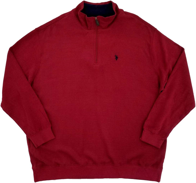 U.S. Polo Assn. Mens Big & Tall Burgundy Knit Quarter Zip Pullover Sweatshirt Jacket