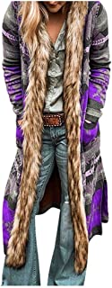 Lataw Women Coats Multicolor Winter Fashion Print Outerwear Ethnic Knit Cardigan Hooded Long Sleeve Fur Collar Overcoat Clothes