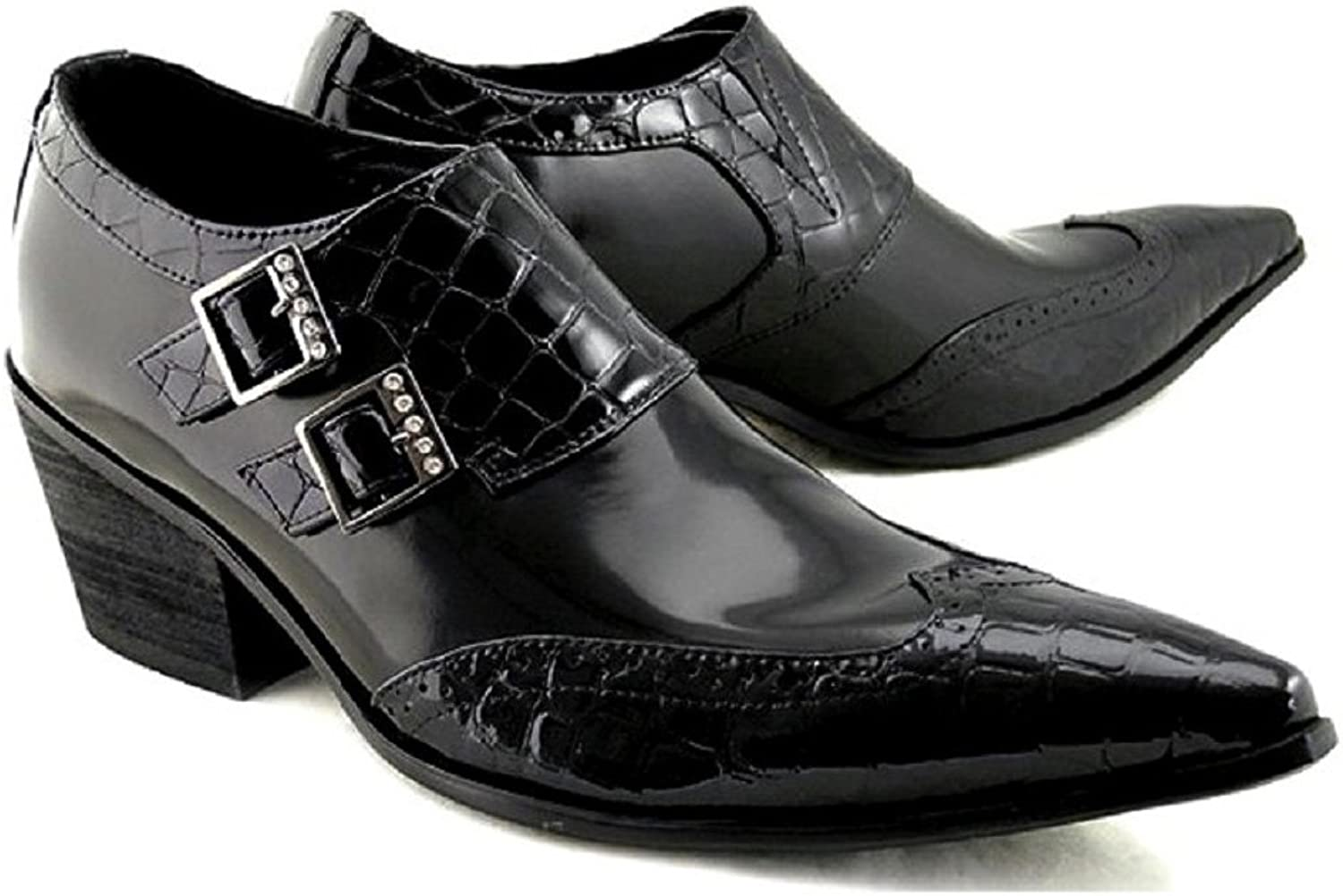 Cover Plus Size 5-12 Black Genuine Leather Dress Monk Strap Loafers Mens shoes
