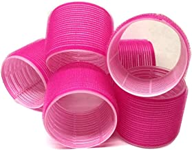 6 Pack Super Jumbo Self Grip Hair Rollers Pro Salon Hairdressing - Big Curlers Create Volume For Long Hair (Hot Pink)