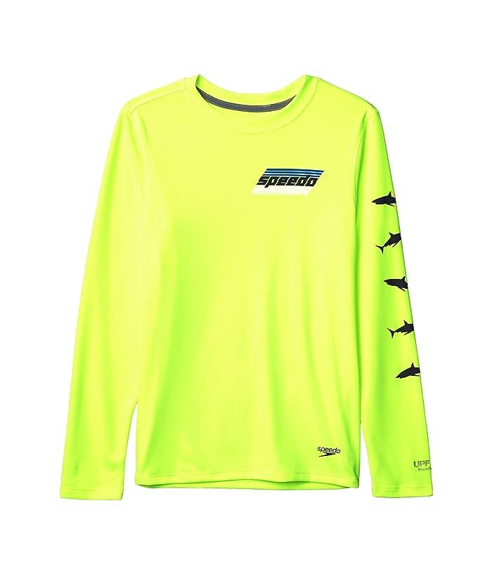 Speedo Kids  Long Sleeve Graphic Swim Shirt (Little Kids/Big Kids) (Safety Yellow) Boys Swimwear