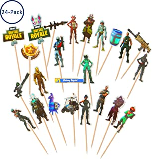 24 PCS Cake Toppers, Echeer Cake Picks Video Game Birthday Toppers Glitter for Birthday Party Boy Children Party Decoration