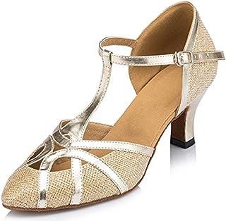 TDA Womens T-Strap Glitter Synthetic Salsa Tango Ballroom Latin Party Dance Shoes CM101
